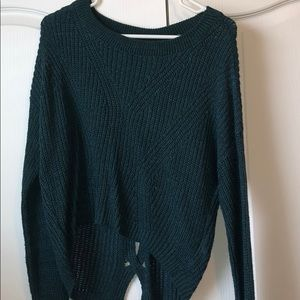 Green open back detail sweater